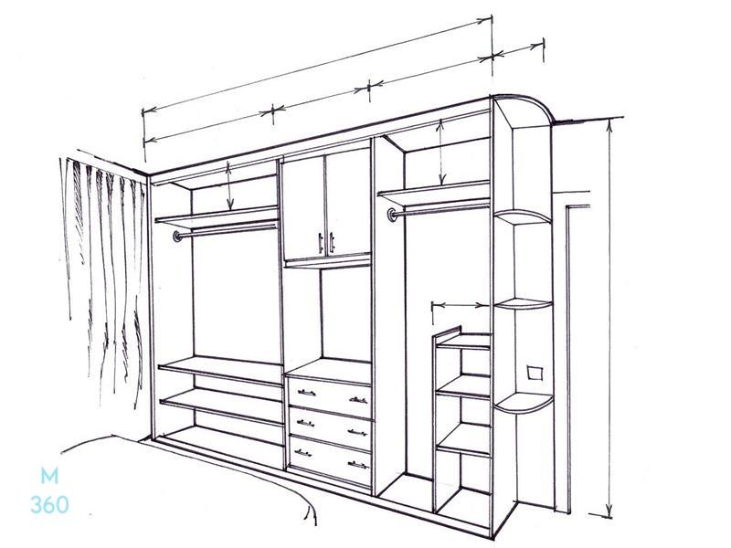 Встроенный угловой шкаф на заказ Арт 5